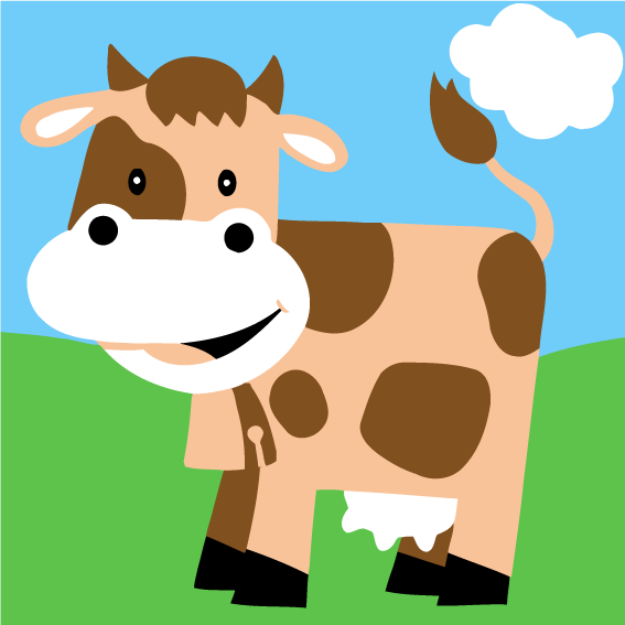 Cartoon Cow Paint by Numbers for Kids