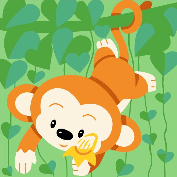 Cartoon Monkey Paint by Numbers for Kids