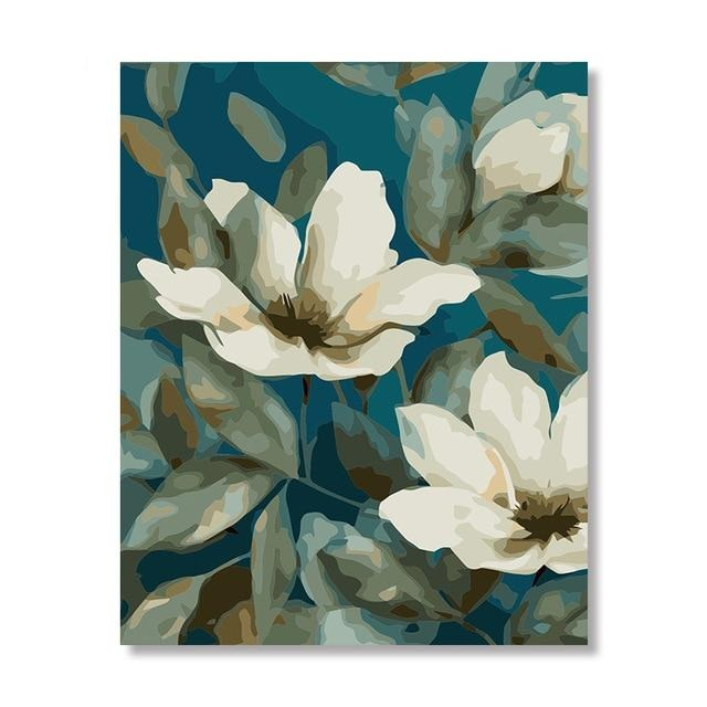 White Flowers Paint By Numbers (4780328550531)