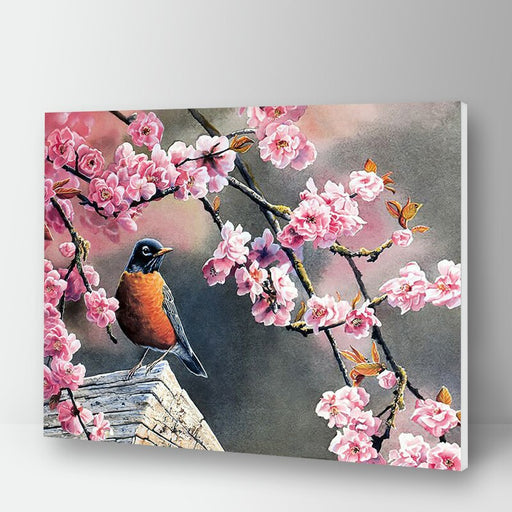 Bird In Cherry Blossom Paint By Numbers (4796458893443)