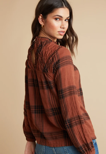 Copper Plaid Bishop Sleeve Blouse