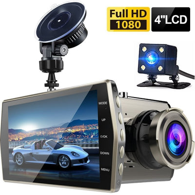 "Dash Cam Full HD 1080P Dashcam Dual Lens Car DVR Vehicle Camera 4"" IPS Front+Rear Night Vision Car Camera Recorder G-sensor Park"