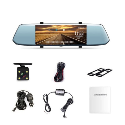 Vehemo Full HD 1080P Dash Cam Touch Screen Dashcam G-Gensor Automobile 7inch Dual Lens Rearview Mirror Car Accessories Car Dvr
