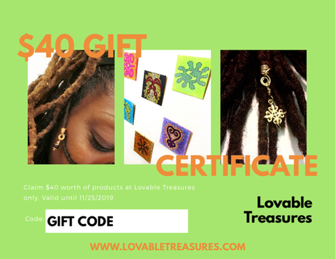 $40 Loc Jewelry Gift Certificate.  Hair Accessories Gift Certificate.