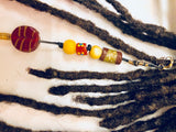 Red Mustard Feather Cowry Shell Hair Bead Dreadlock Locs Braids Twist