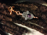 Adjustable Hand of Fatima Hamsa Amethyst Hair Cuffs Wire Wrapped Hair Bead Dread Locs Dreadlock Jewelry
