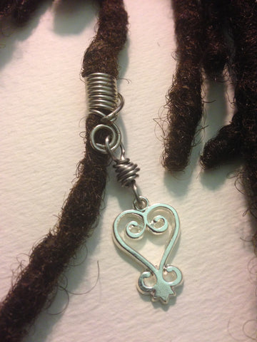 Silver Sankofa African Adinkra Hair Bead Tube Dread Locs Dreadlock Jewelry