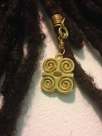Brass Dwennimmen Humility African Adinkra Hair Bead Tube Dread Locs Dreadlock Jewelry
