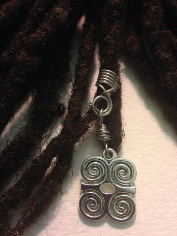 Silver Dwennimmen African Adinkra Hair Bead Tube Dread Locs Dreadlock Jewelry