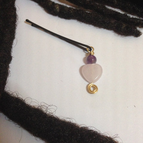 Rose Quartz Heart and Amethyst Hair Pin - Loc Jewelry - Natural Hair Jewelry - Dreadlock Jewelry
