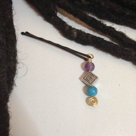 Amethyst and Turquoise Hair Pin - Loc Jewelry - Natural Hair Jewelry - Dreadlock Jewelry