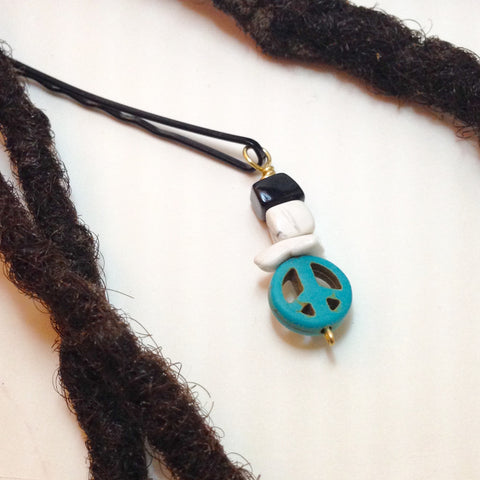 Turquoise Peace Sign with White Howlite and Onxy Hair Pin - Loc Jewelry - Natural Hair Jewelry - Dreadlock Jewelry