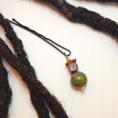 Unakite and Brown Goldstone Hair Pin - Loc Jewelry - Natural Hair Jewelry - Dreadlock Jewelry