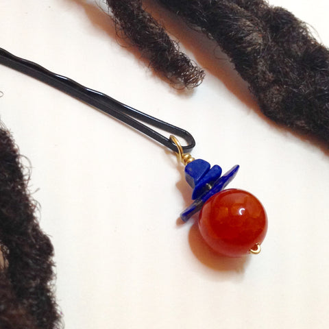Fire Agate and Lapis Stone Hair Pin - Loc Jewelry - Natural Hair Jewelry - Dreadlock Jewelry