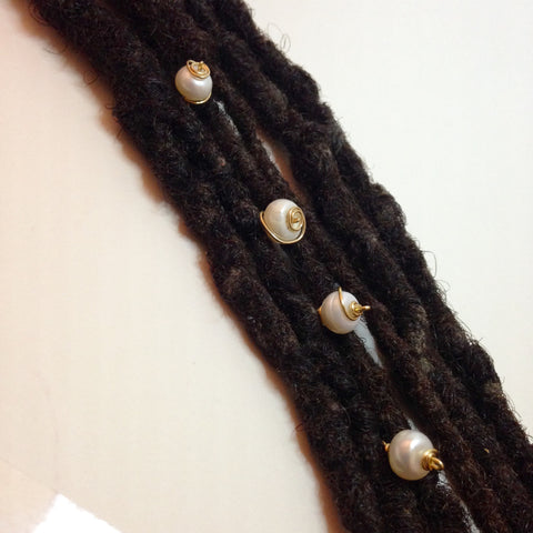 Fresh Water Pearl Hair Pin Set - Loc Jewelry - Natural Hair Jewelry - Dreadlock Jewelry