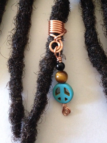 Onyx Tiger Eye Turquoise Peace Sign Hair Bead Dread Locs Dreadlock Jewelry