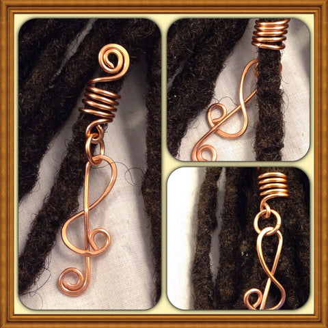 Music Note Copper  Dreadlock Bead Accessories