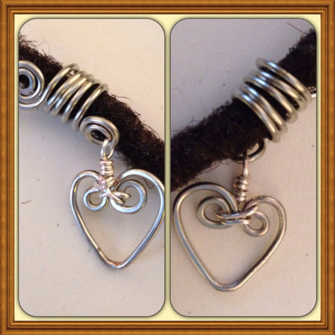 Heart Silver Dreadlock Bead Accessories