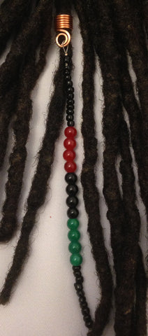 PAN-AFRICAN AMERICAN Flag Color Hair Bead for Dreadlocks, Braids and Twist