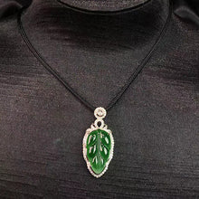 Load image into Gallery viewer, Leaf Jadeite Necklace in Green Jade