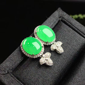 Cabochons Jadeite Earrings in Apple Green Jade