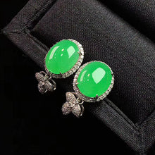 Load image into Gallery viewer, Cabochons Jadeite Earrings in Apple Green Jade