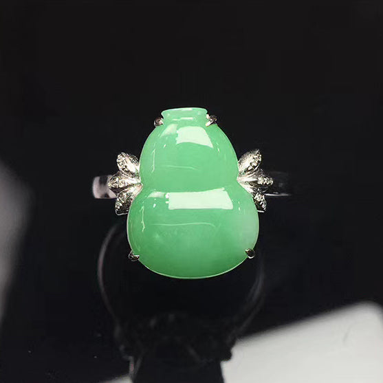 Calabash Jadeite Ring in Apple Green Jade