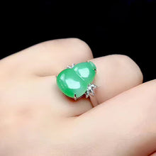 Load image into Gallery viewer, Calabash Jadeite Ring in Apple Green Jade