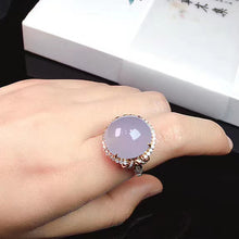 Load image into Gallery viewer, Cabochon Jadeite Ring in Icy Lavender Jade