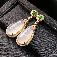 Load image into Gallery viewer, Pea-pods Jadeite Earrings in Icy White Jade