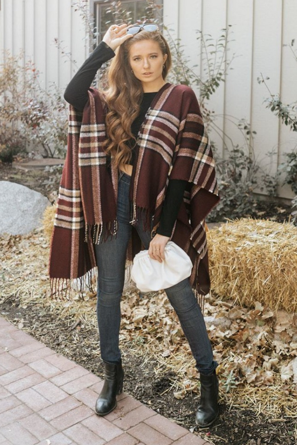 plaid ruana with open sleeves
