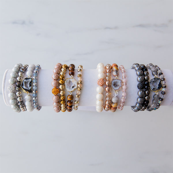 Agate and Bead Stretch Bracelet Sets