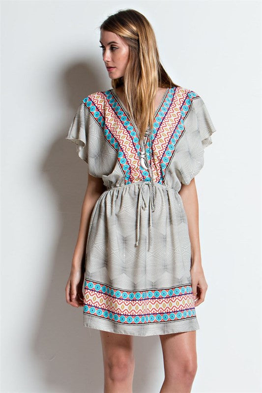 Boarder Printed Woven Dress | 2 colors