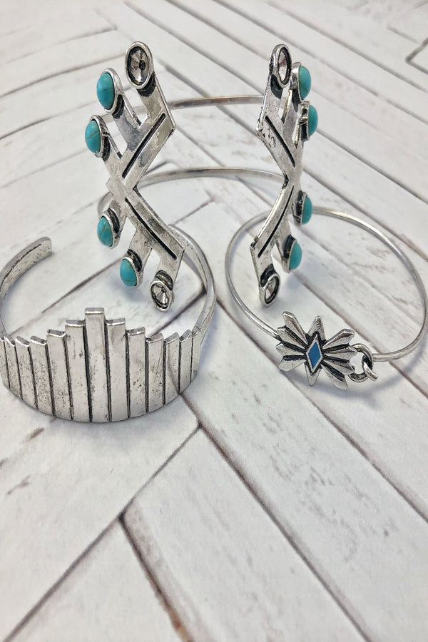 Silver and Turquoise 3 Piece Bracelet Stack
