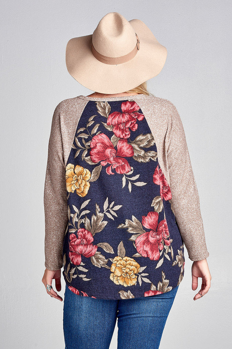 Plus Size Heathered Floral Baseball Tee