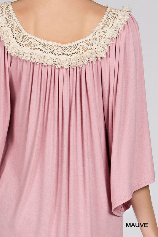 Square Neck Trim Top with Bell Sleeve | 4 colors