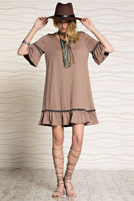 French Terry Ruffle Dress | 2 colors