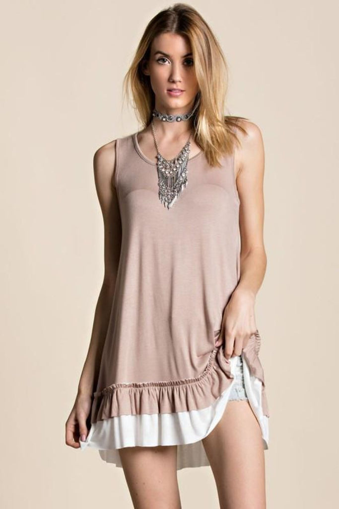 Sleeveless Round Neck Double Ruffle Tunic | 4 colors