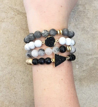 Sea Glass Druzy Bracelet Sets