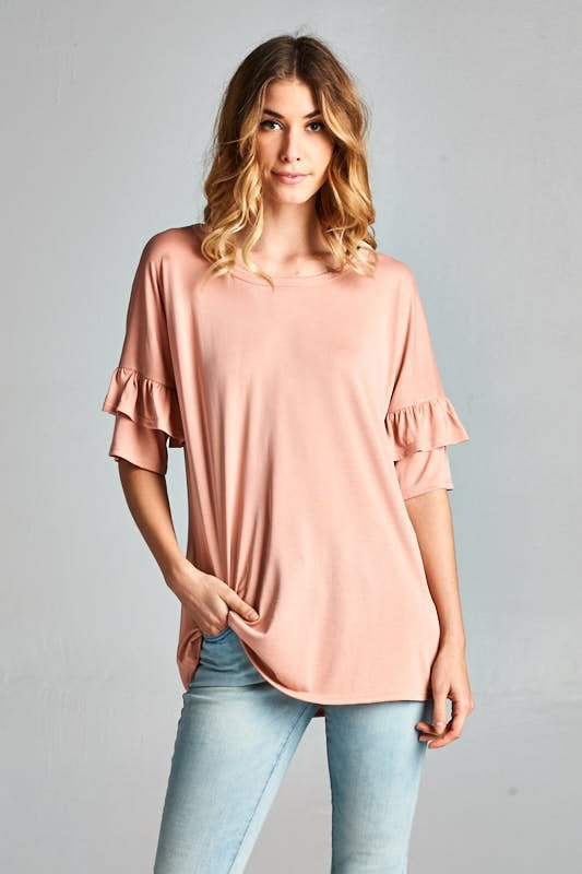 Ruffle Sleeve Casual Top | 2 colors