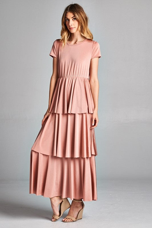 stella ruffle dress in blush