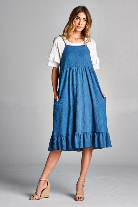 Denim Ruffle Dress with Pocket