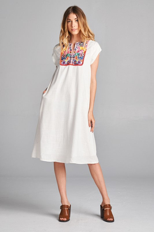 Mia Embroidery Patch Detail Dress in White