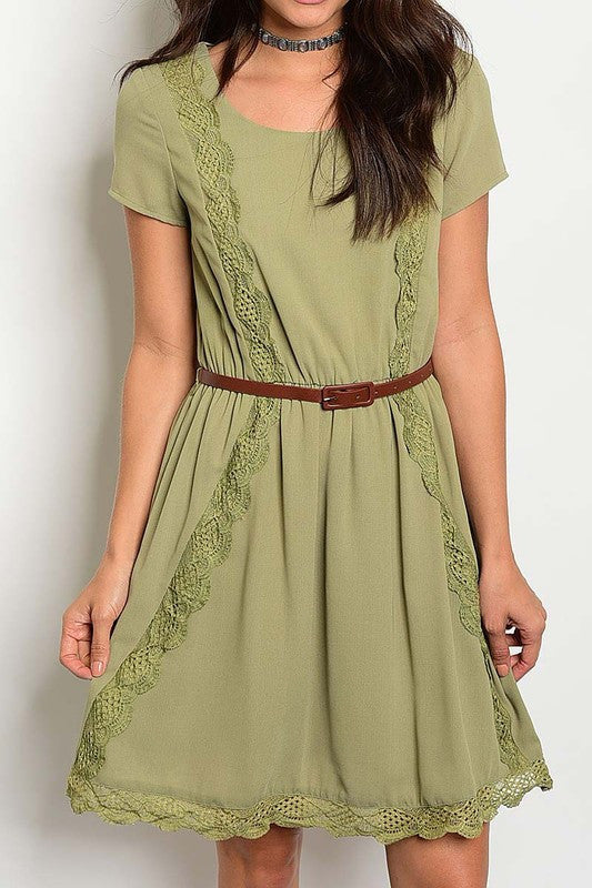Olivia Belted Lace Trim Dress