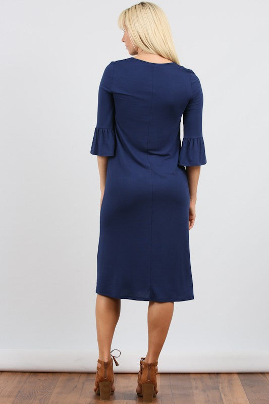 Cicily Embroidered Dress with Bell Sleeve in Navy