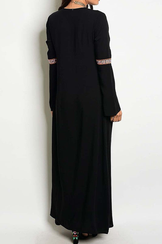 Lennon Long Sleeve Embroidered Lace up Maxi Dress