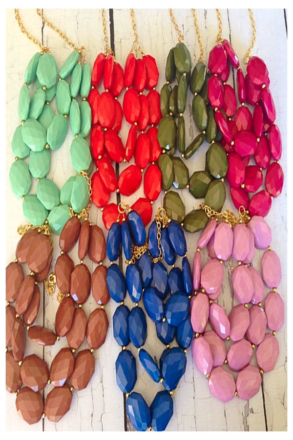 Addison 3 Strand Faceted Bead Necklace-Lots of colors!