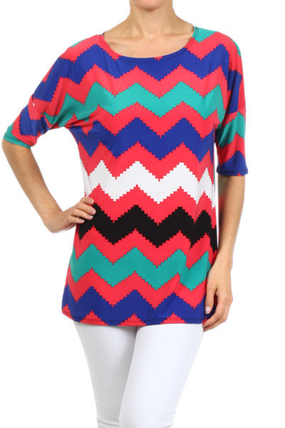 Coral Top with Zigzag Chevron Stripe