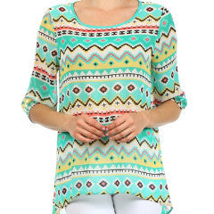 Mint Aztec Top