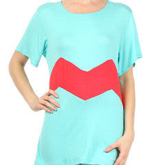 Plus Size Mint Top with Coral Zigzag Stripe